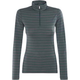 Icebreaker Oasis LS Half Zip Shirt Women nori heather/wild rose/stripe